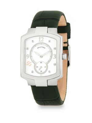 CLASSIC DIAMOND AND LEATHER STRAP WATCH