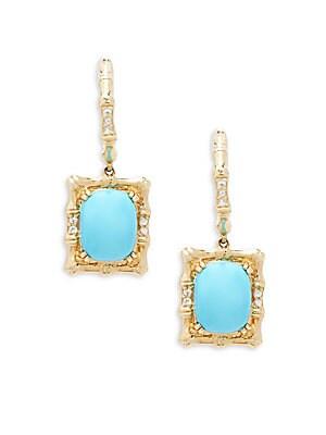 14k Honey Gold, Robin's Egg Turquoise, and Vanilla Sapphires Earrings