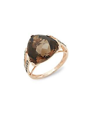 14k Strawberry Gold Chocolate Diamonds and Chocolate Quartz Chocolatier Ring