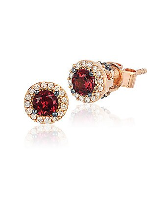 Chocolatier Raspberry Rhodolite, Vanilla and Chocolate Diamond Stud Earrings