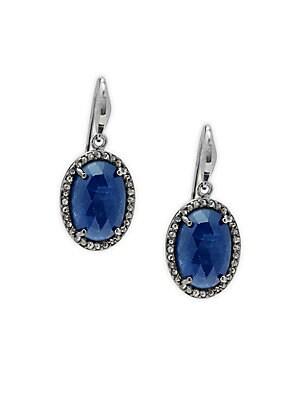 Sterling Silver, Sapphire & Diamond Earrings