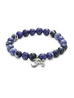 Sodalite Bead & Diamond Bracelet