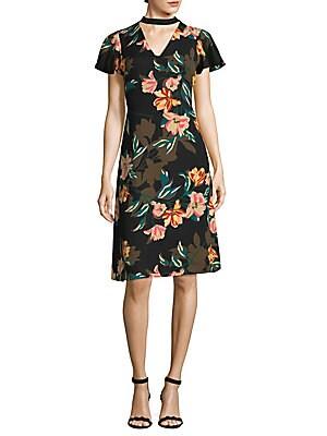 Choker Floral Shift Dress