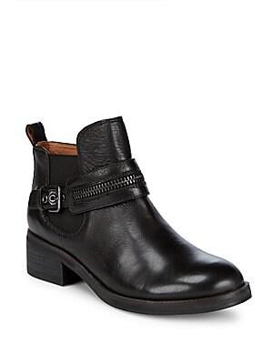 Penny Zip Leather Booties
