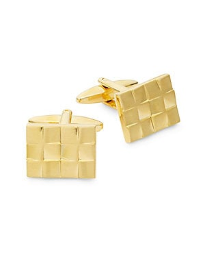 18K Yellow Gold Brushed Checkboard Cufflinks
