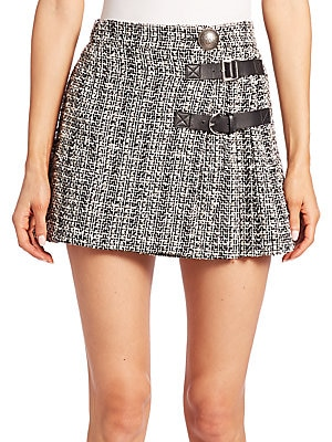 Pleated Tweed Mini Skirt