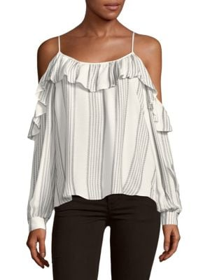 RUFFLE COLD-SHOULDER STRIPE TOP