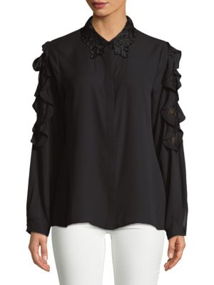 Lace Collar Button-Down Shirt