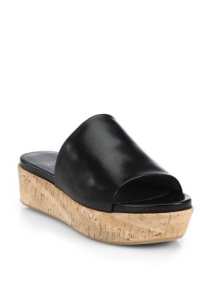 FLAT-OUT LEATHER & CORK FLATFORM SLIDES