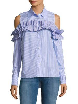 RUFFLE COLD SHOULDER COTTON TOP