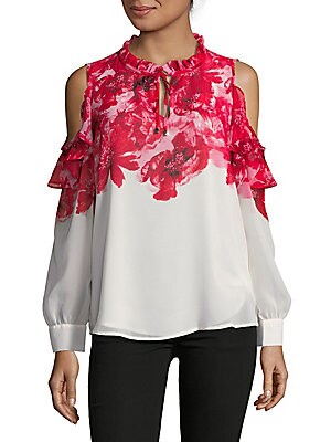 Floral Ruffle Cold-Shoulder Blouse