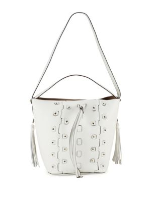 Vittoria Glam Leather Drawstring Bucket Bag