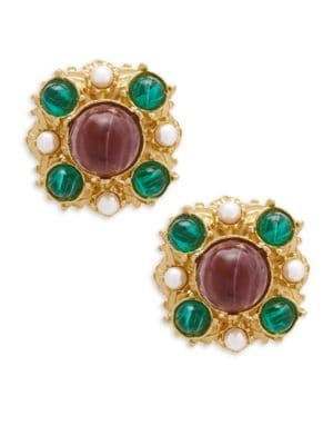 CRYSTAL MULTICOLORED CLIP-ON EARRINGS