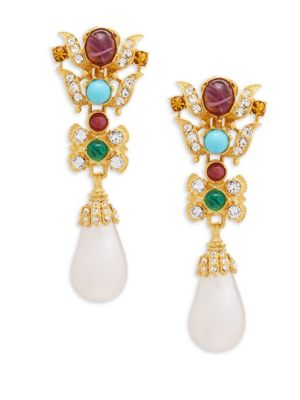 Crystal and Faux Pearl Drop Earrings