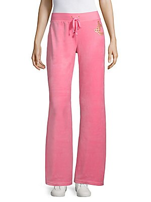Wide-Leg Velour Track Pants