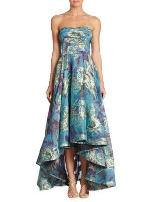 STRAPLESS FLORAL FIL-COUPE HIGH-LOW GOWN