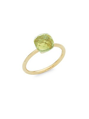 14K Yellow Gold Green Amethyst Cushion-Cut Ring