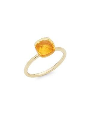 14K Yellow Gold Citrine Cushion-Cut Ring