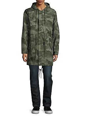 Camo-Print Cotton Military Coat
