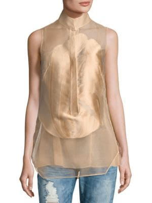 Button-Front Semi-Sheer Top