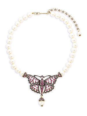 Butterfly Faux Pearl Necklace