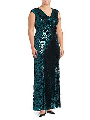 V-Neck Patterned Sequin Dress