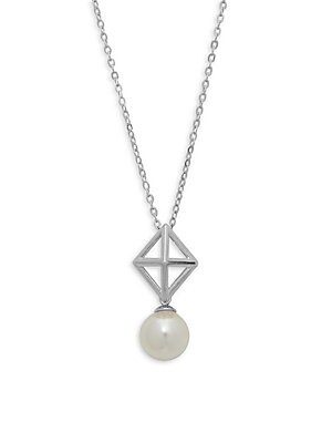 8MM White Organic Pearl and Sterling Silver Pendant Necklace