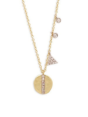 14K Yellow Gold & Diamonds Triangle Disc Pendant Necklace