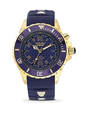 Dark Blue Silicone & Goldtone Stainless Steel Strap Watch/48MM