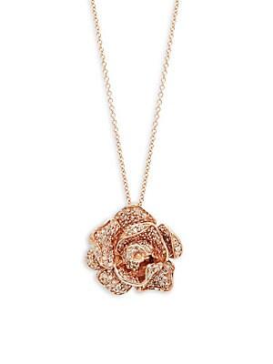14K Rose Gold & Diamond Rose Pendant Necklace