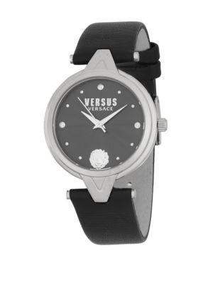 QUARTZ STAINLESS STEEL LEATHER-STRAP WATCH