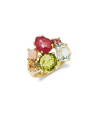 18K Yellow Gold and Mixed Stones Cocktail Ring