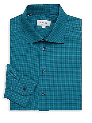 Contemporary-Fit Mini Gingham Cotton Dress Shirt