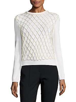 Allover Faux Pearl Shell Overlay Top