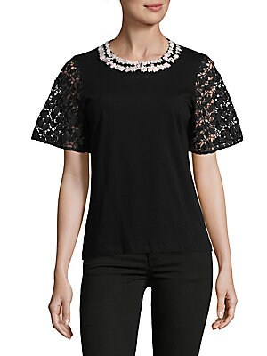 Short Sleeve Macramé Top