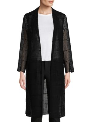Open Front Semi-Sheer Silk Coat