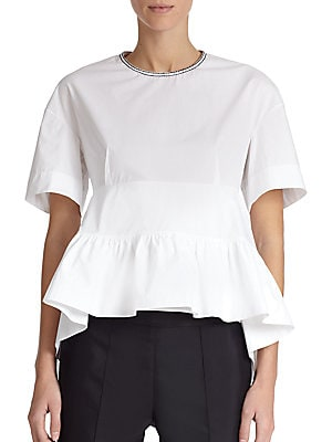 Cotton Poplin Peplum Blouse