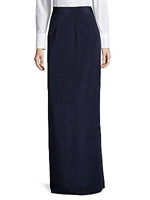 High-Waist Silk Column Skirt