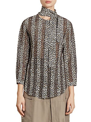 Silk Leopard-Print Blouse