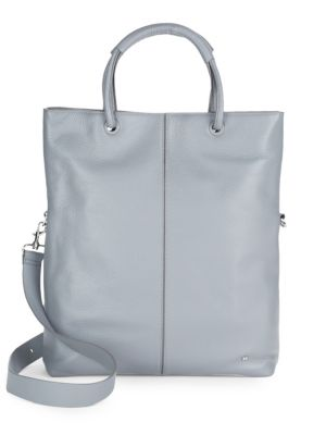 Large Foldover Leather Tote Bag