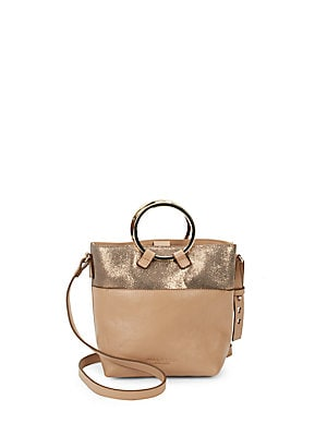 Metallic Crossbody Bucket Bag