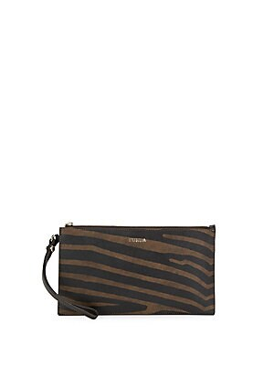 Babylon Zebra-Print Leather Wristlet