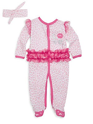 Baby's Two-Piece Leopard Print Footie and Headband Set