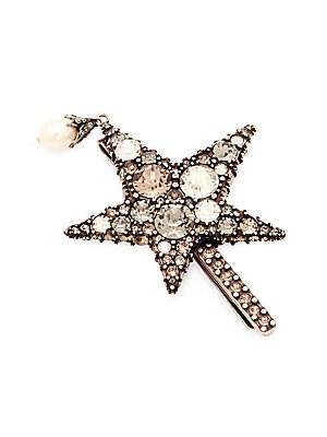 Crystal & Pearl Star Brooch