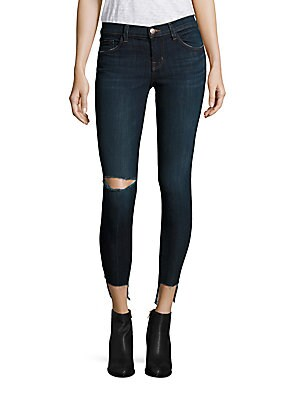 9326 Distressed Low-Rise Cropped Step Hem Jeans/Disguise Destruct