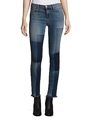 811 Shadow Patch Frayed Skinny Jeans