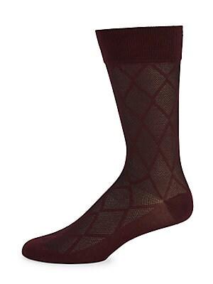 Diamond Waffle-Print Socks