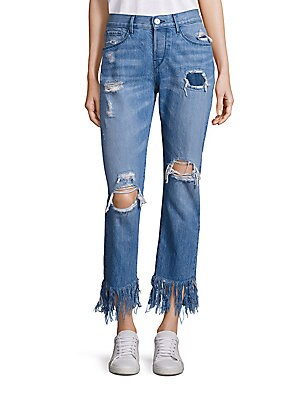 Distressed Cropped Fringe Hem Jeans