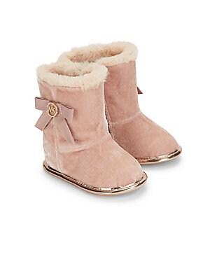 Baby's Faux Fur Trimmed Velvet Boots