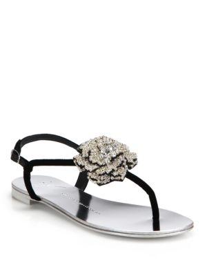 Swarovski Crystal Rose T-Strap Velvet Sandals